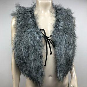 W118 By Walter Baker Gray Faux Fur Vest Size M